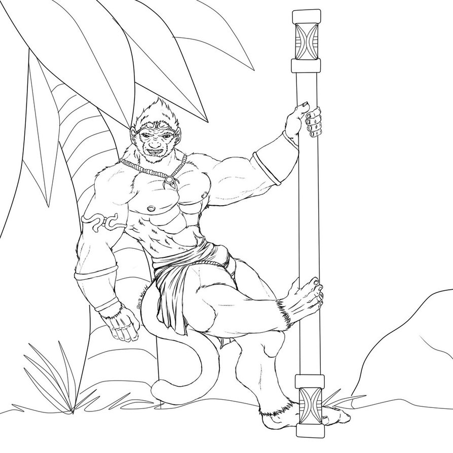 894x894 Pool Party Wukong By Blackwerewolfhero