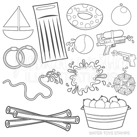 570x570 Water Toys Cute Digital Line Art Stamps, Black And White Line Art