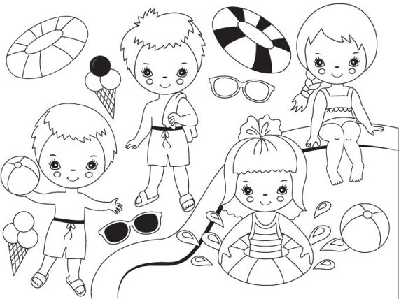570x428 Black Amp White Pool Party Kids Clipart Digital Vector