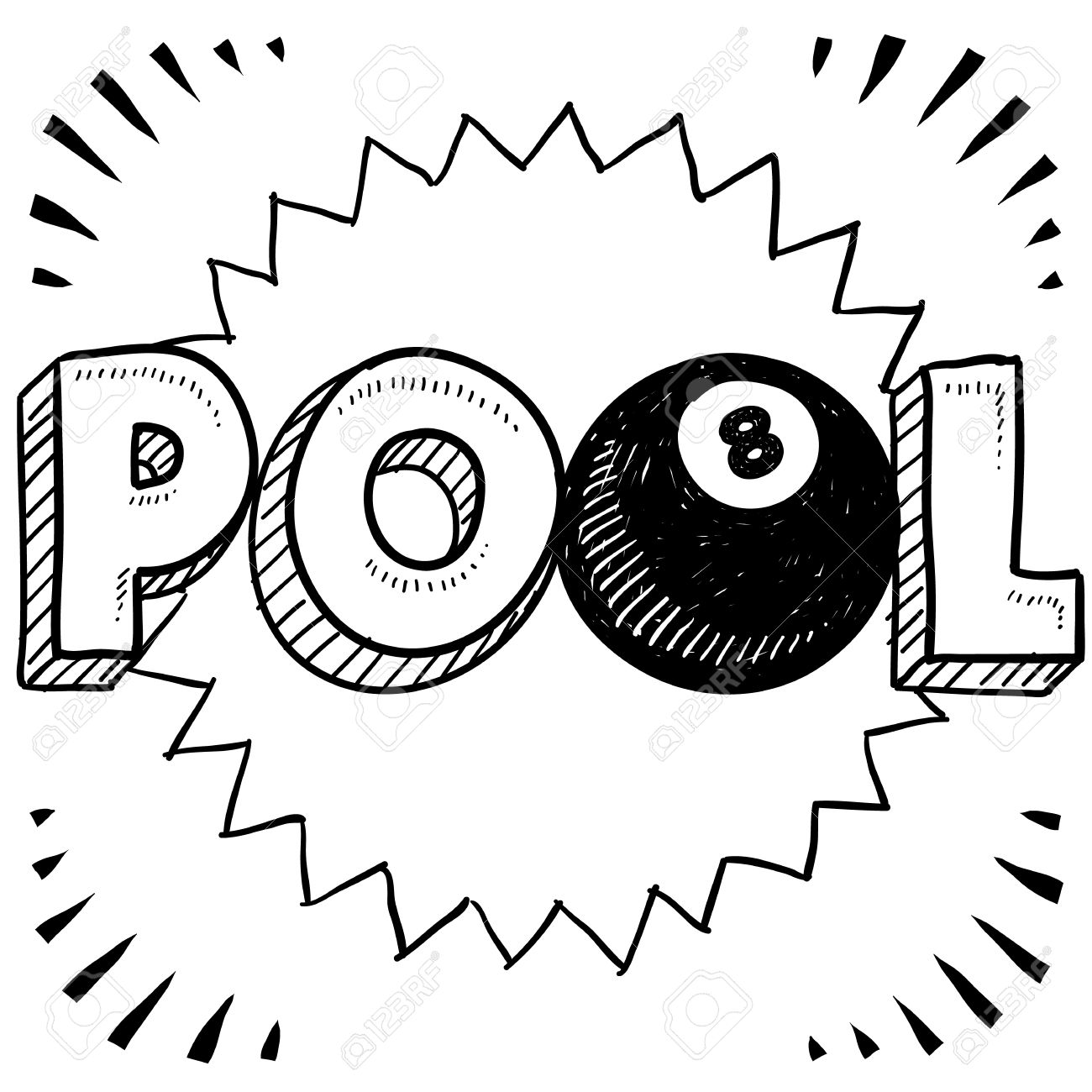 1300x1300 Doodle Style Pool Or Billiards Illustration In Vector Format