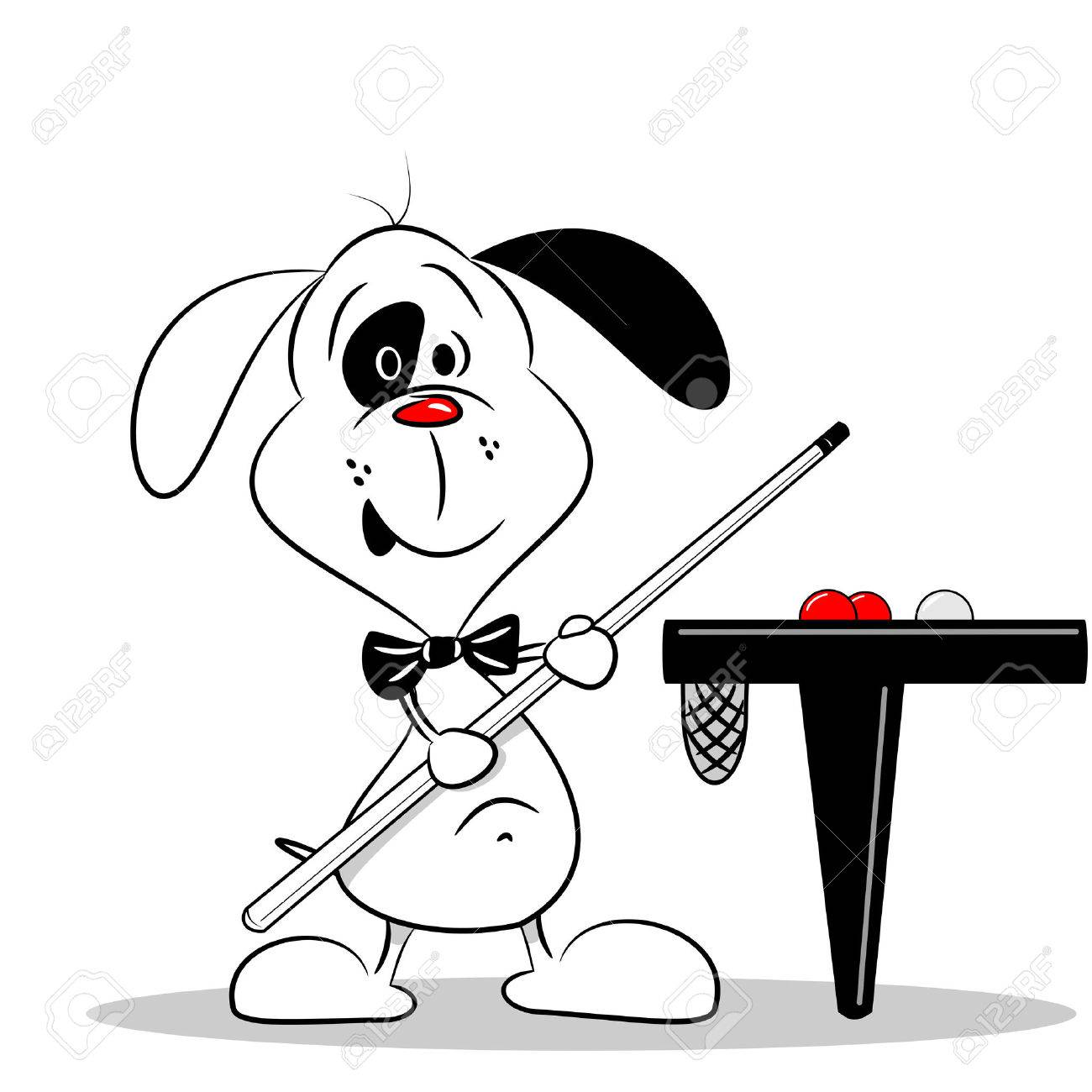 1300x1300 A Cartoon Dog With A Snooker Cue Next To Billiard Table Royalty