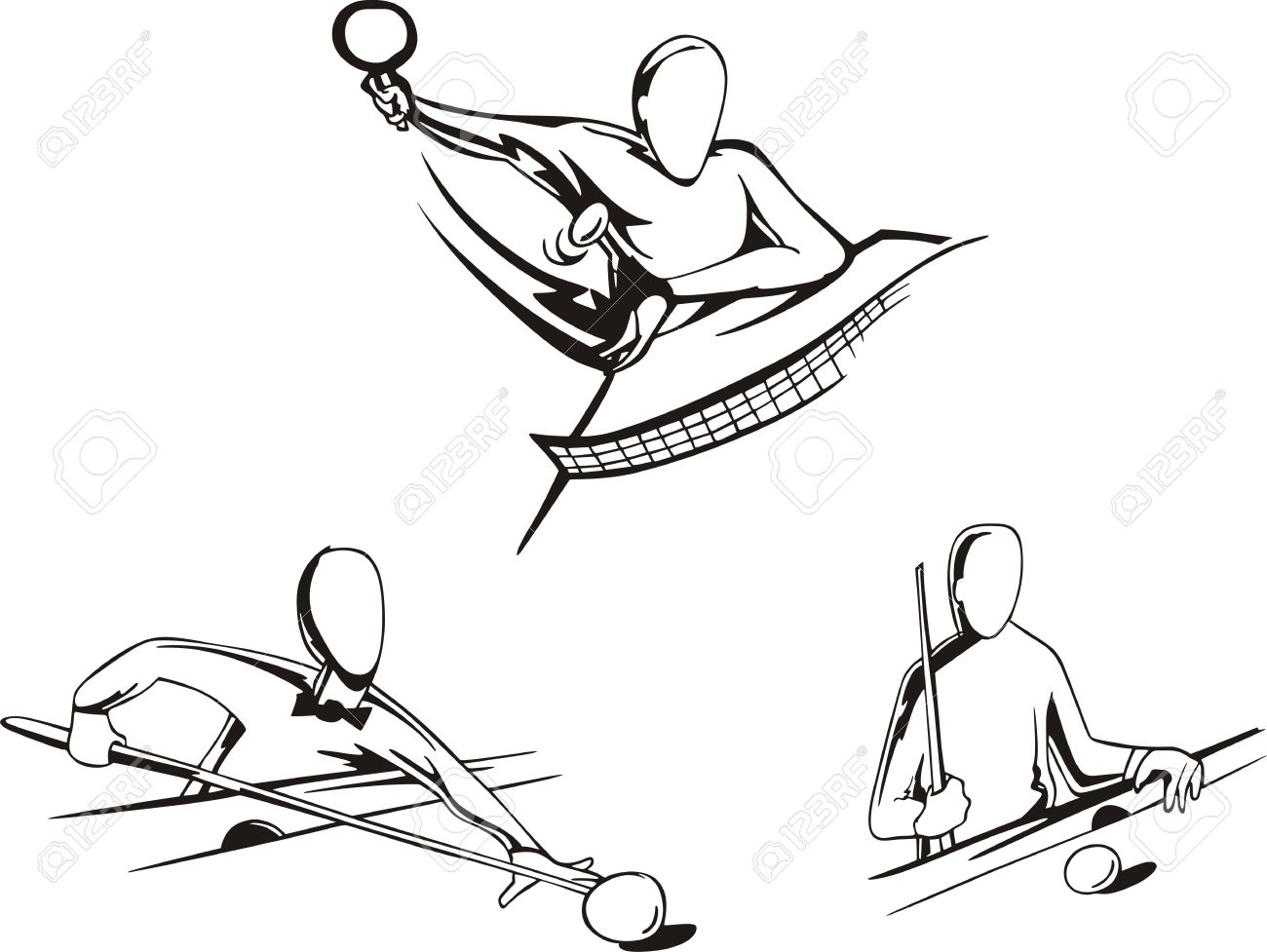 1300x977 Pool And Tennis Table Set Of Black And White Illustrations Royalty