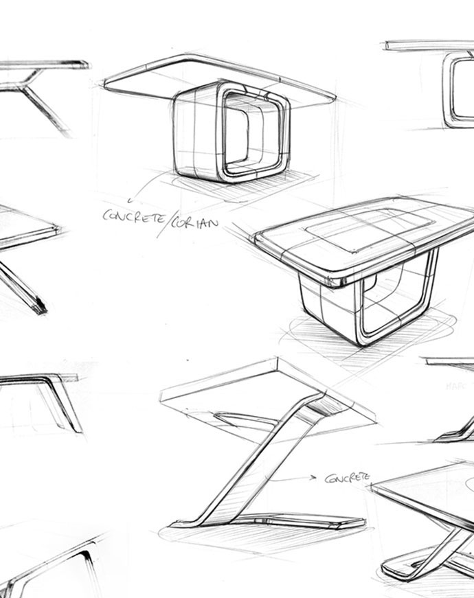 690x871 Table Design Sketches
