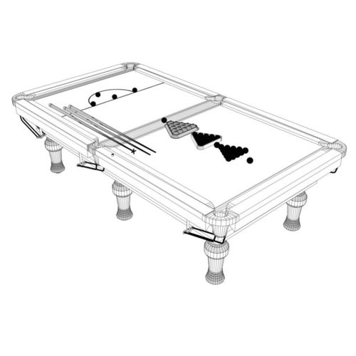 500x500 Snooker Table 3d Model Cgtrader