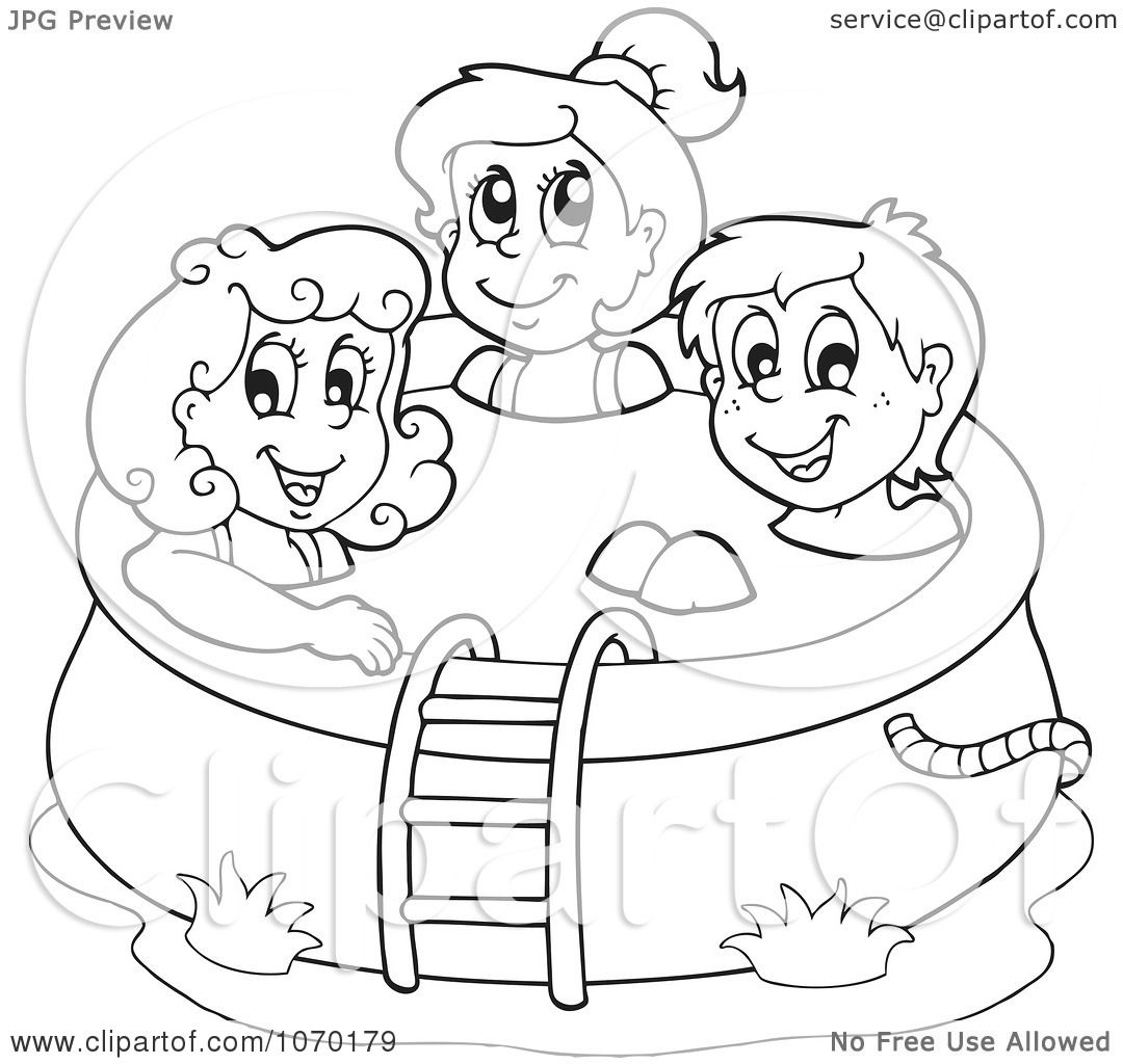 1080x1024 Clipart Outlined Kids In A Swimming Pool