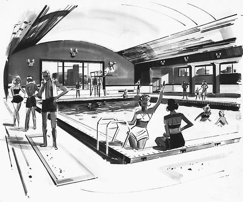 500x415 Vintage Indoor Pool Indoor Pool Concept Drawing. Vintage