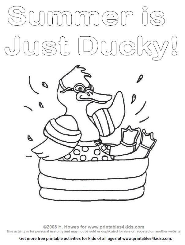 604x802 Duck Splashing In A Swimming Pool Coloring Page Coloring