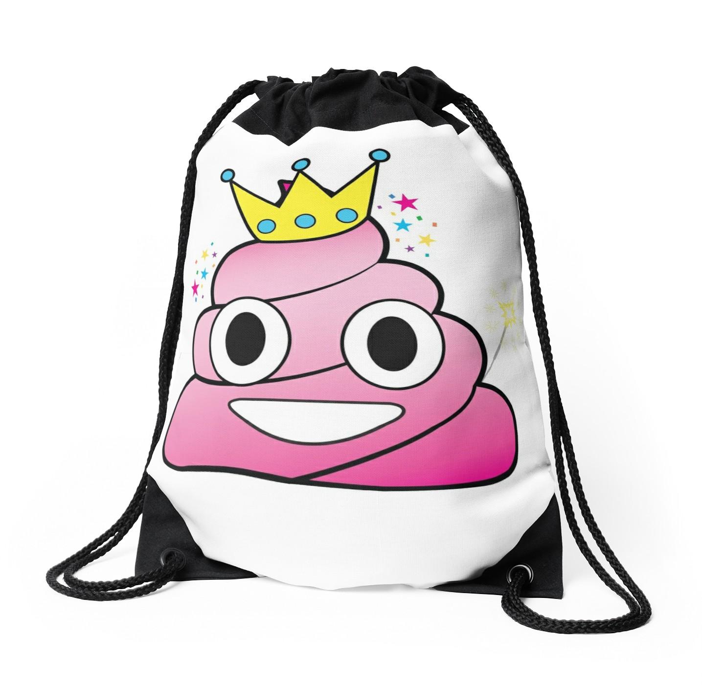 1435x1404 Princess Poop Emoji Drawstring Bags By Abowlofsoda Redbubble