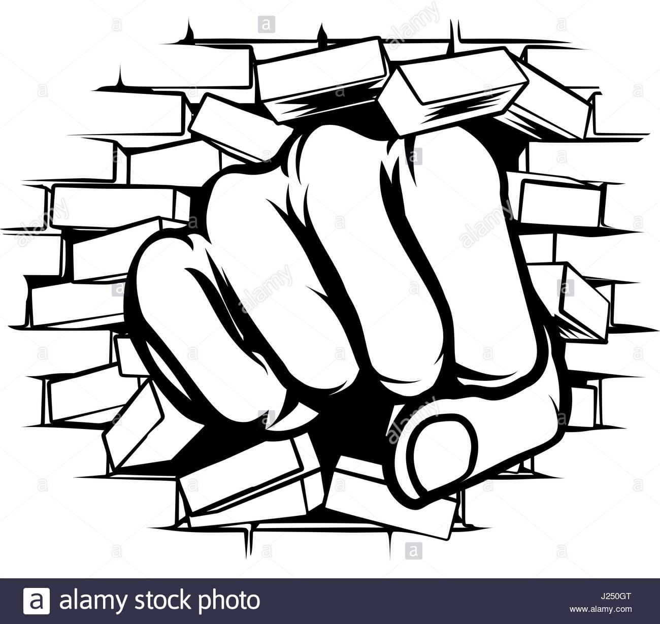 1300x1229 A Pop Art Cartoon Fist Hand Punching A Through A Brick Wall Stock