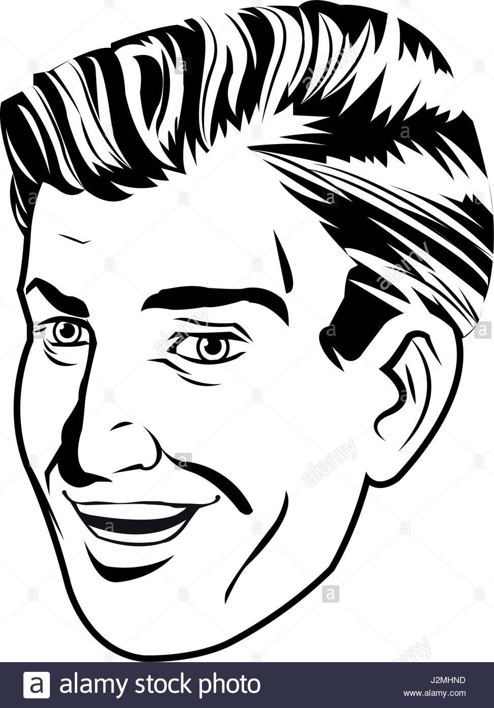 971x1390 Face Man Smiling Expression Pop Art Design Stock Vector Art