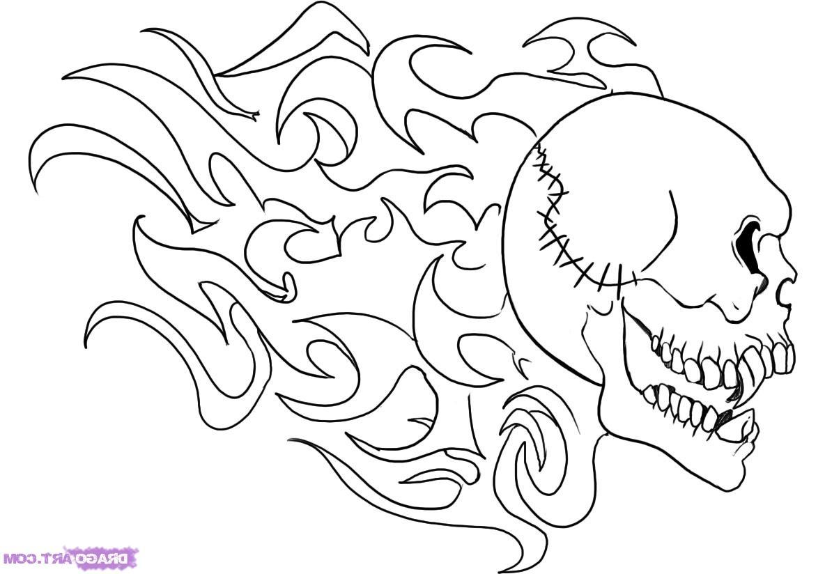 1184x824 Hd How To Draw Flaming Skull Step By Skulls Pop Culture Free Design