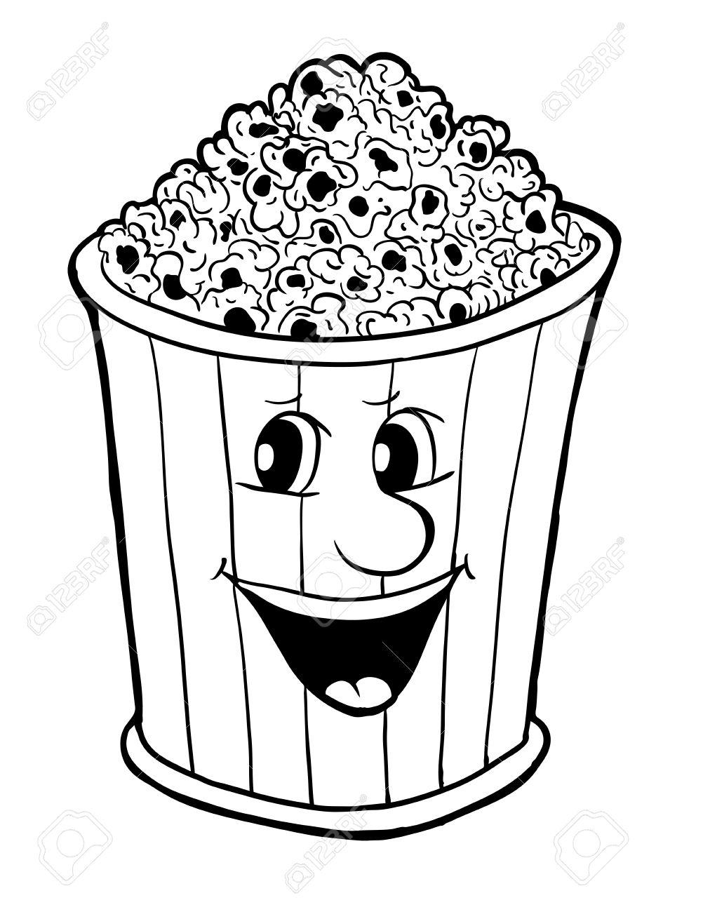 1002x1300 Bucket Of Popcorn, Vector Illustration, Coloring Book Royalty Free