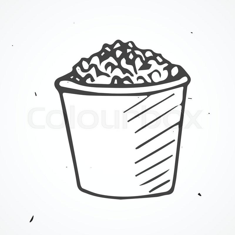 800x800 Hand Drawn Tasty Popcorn, Vector Doodle Element Stock Vector