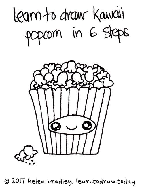 500x670 How To Draw Kawaii Popcorn In Six Steps Learn To Draw