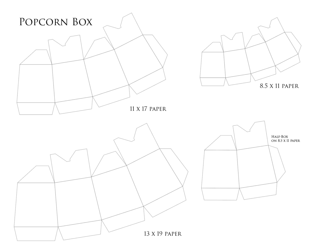 1024x825 Popcorn Boxes In Three Sizes Tutorial + Template Creative Layers
