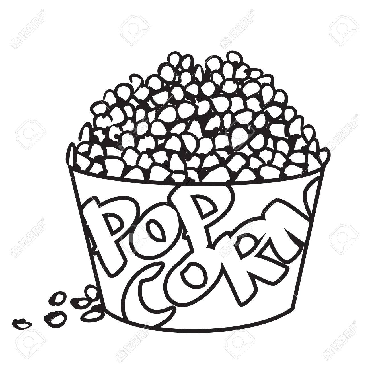 1300x1300 Vector Illustration Of Big Bowl Of Popcorn In Black And White
