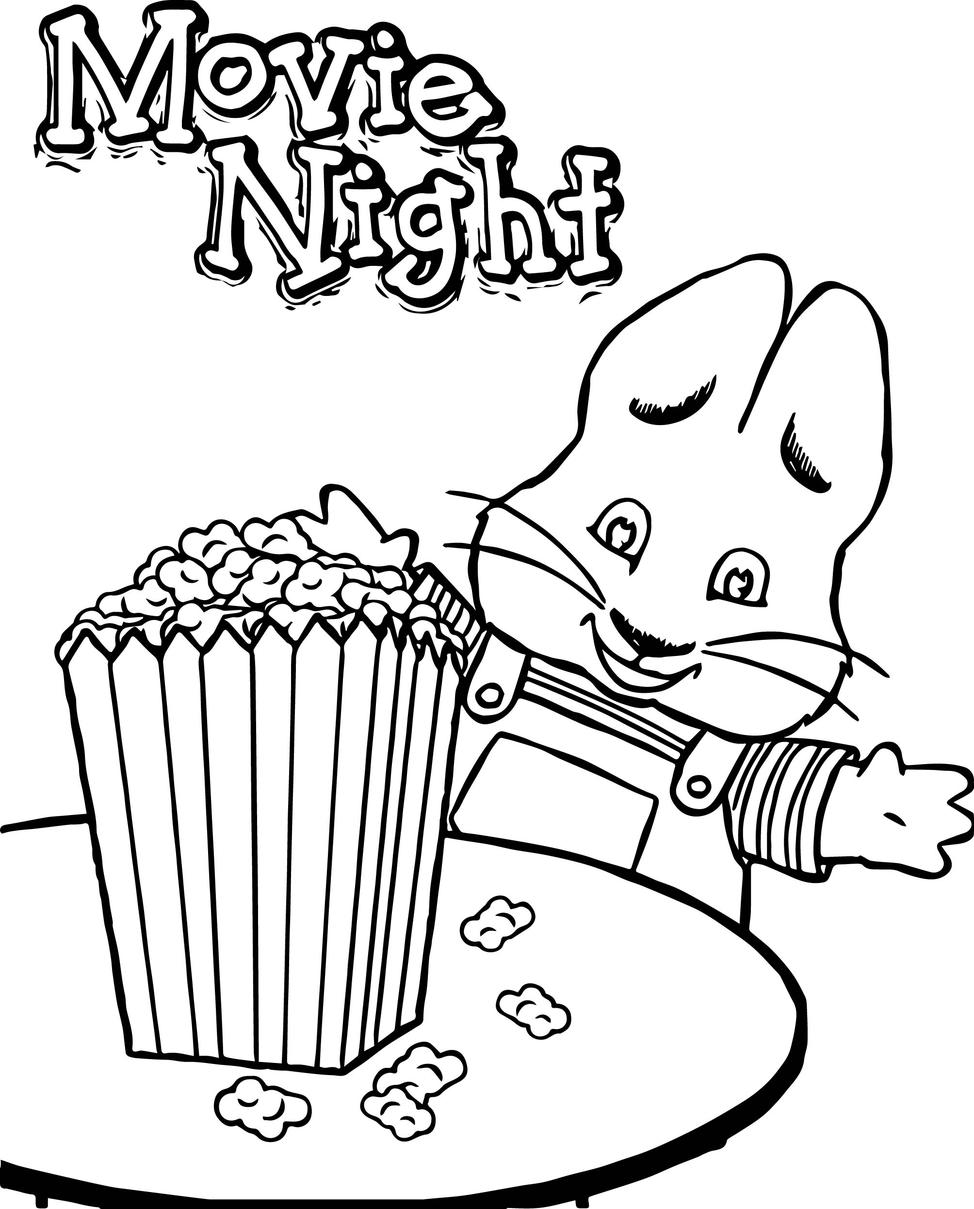 2008x2492 Max Ruby Movie Night Eat Popcorn Max And Ruby Coloring Page