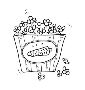 Popcorn Line Drawing