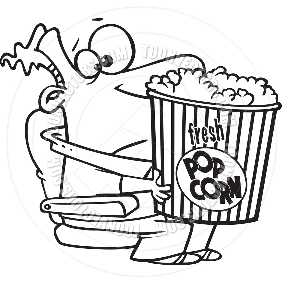 940x940 Cartoon Man Holding A Giant Bucket Of Popcorn (Black And White