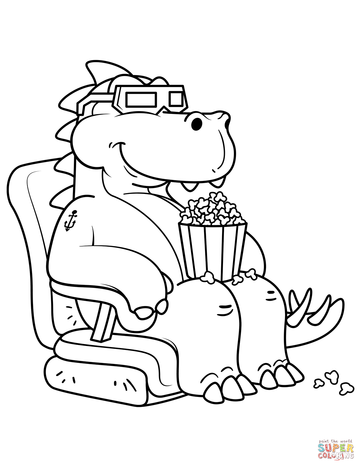 1159x1500 Tyrannosaurus Eating The Popcorn In The Cinema Coloring Page