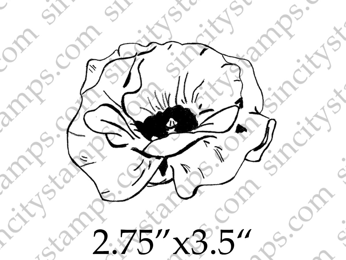 1200x900 Poppy Line Drawing Flower Art Rubber Stamp By Daniella Hayes