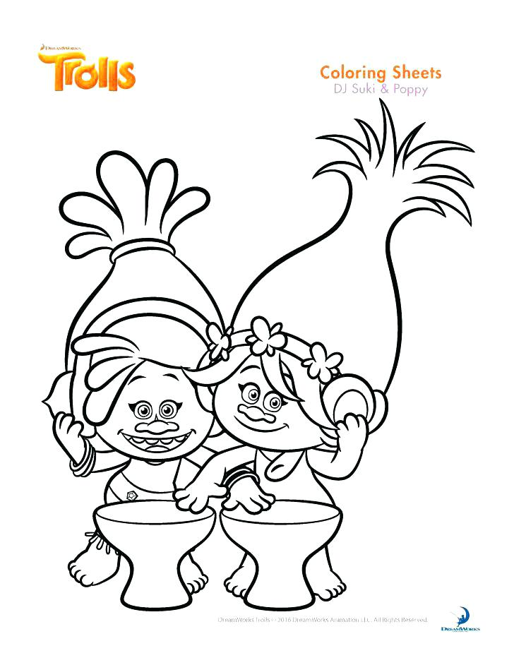 728x942 Trolls Coloring Template As Well As Free Trolls Coloring Pages 395
