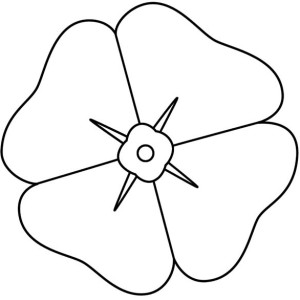 300x300 Poppy Flower For Remembrance Day Coloring Page Color Luna