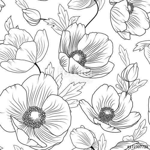 500x500 Poppy Flowers Buds Leaves. Seamless Floral Pattern Texture