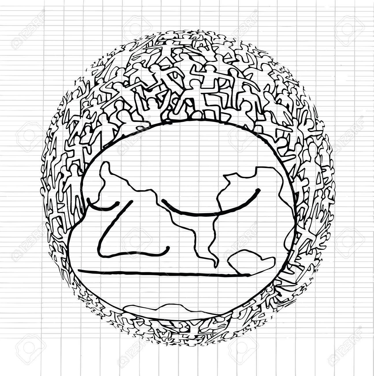1294x1300 Hand Drawn Population Of Our World ,vector Illustration Royalty