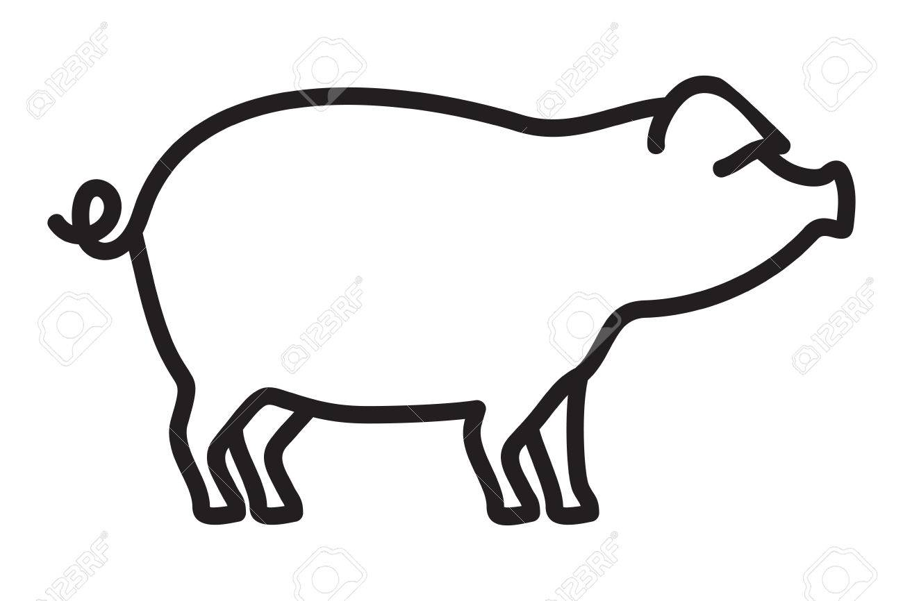 1300x866 Pork Outline Vector Icon Royalty Free Cliparts, Vectors, And Stock