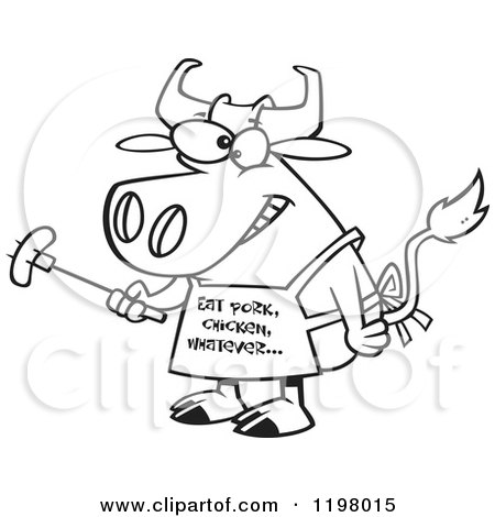 450x470 Cartoon Of A Bbq Cow Holding A Sausage On A Forkd Wearing