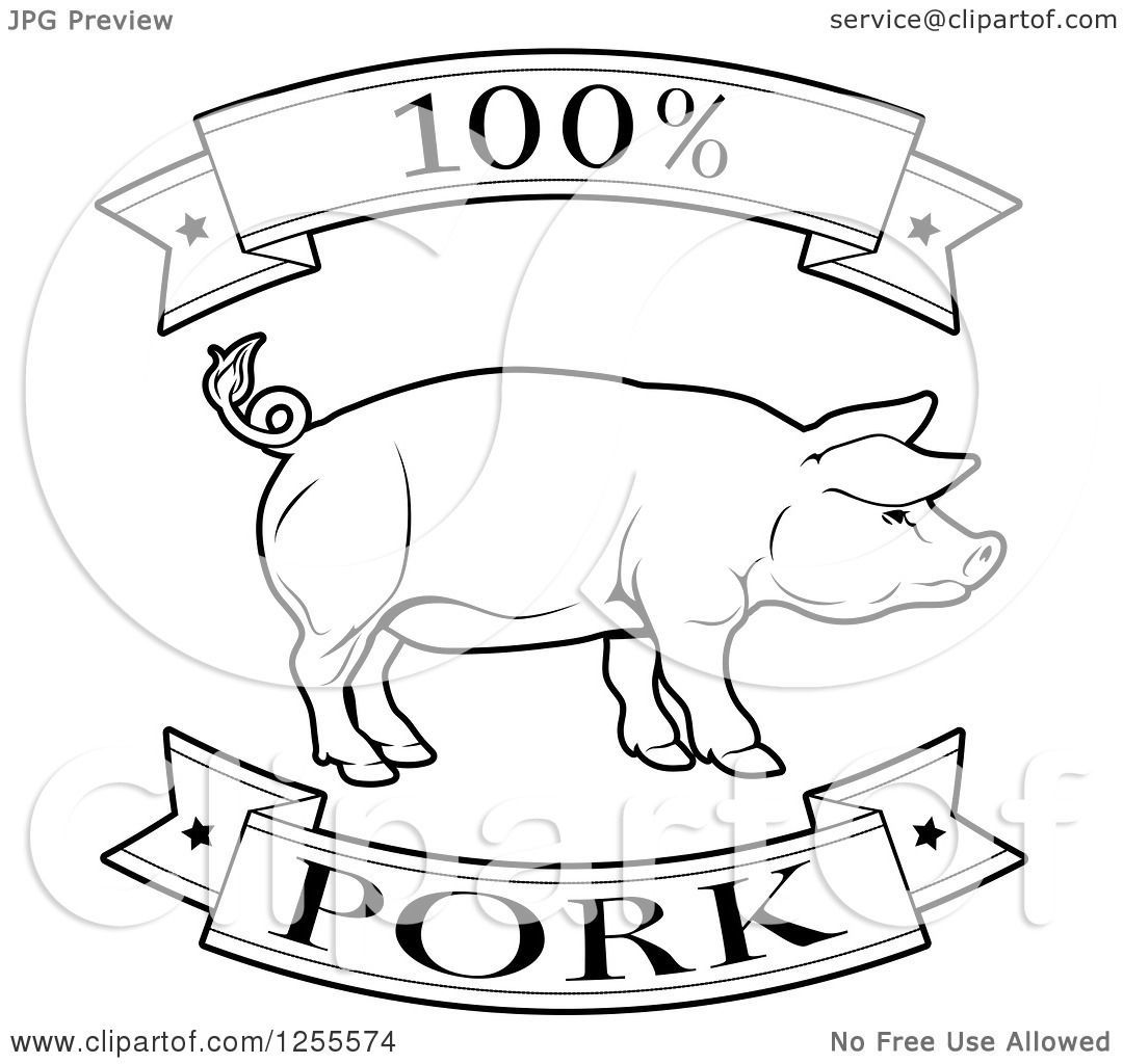 1080x1024 Clipart Of A Black And White 100 Percent Pork Food Banners And Pig