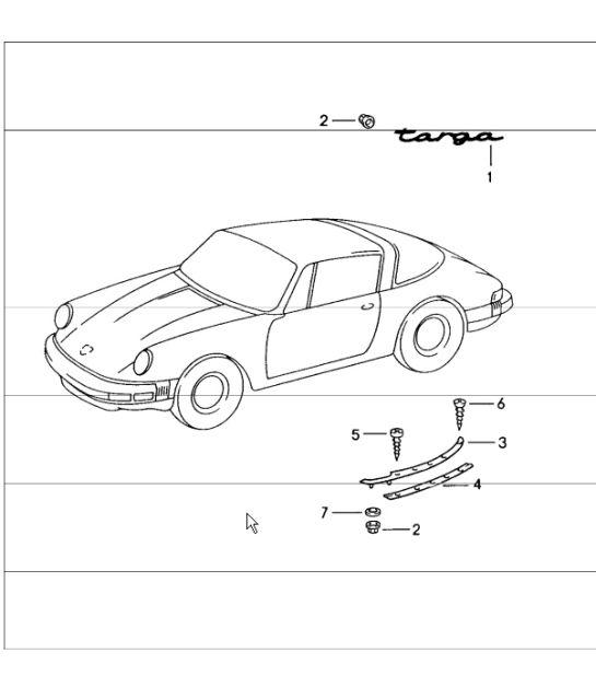 545x628 Porsche 964 Targa Rear Moulding Seal 90156555740