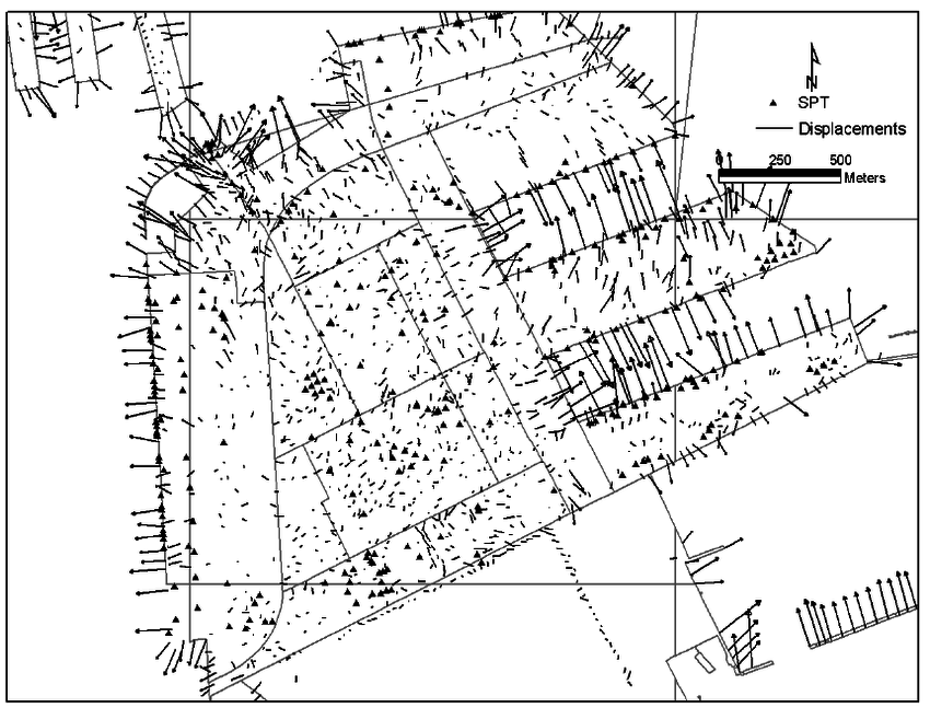850x657 Displacement Vector And Borehole Location In Port Island (Data