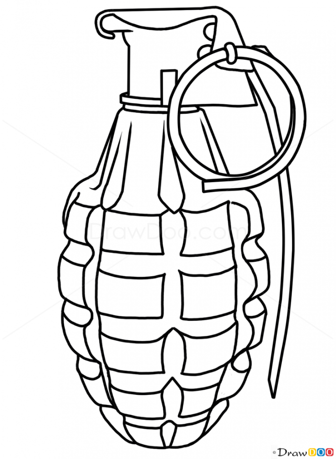 665x907 How To Draw Grenade, Guns And Pistols