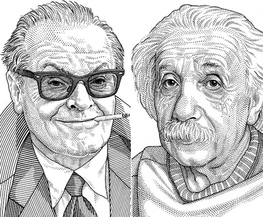 900x743 Famous Celebrities Portraits Drawings Made Of Dots Fubiz Media