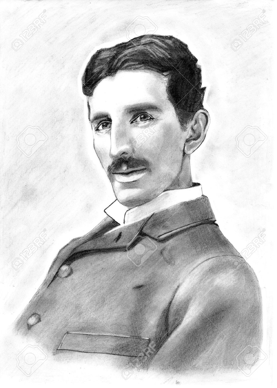 928x1300 Portrait Drawing Of Inventor Nikola Tesla Stock Photo, Picture