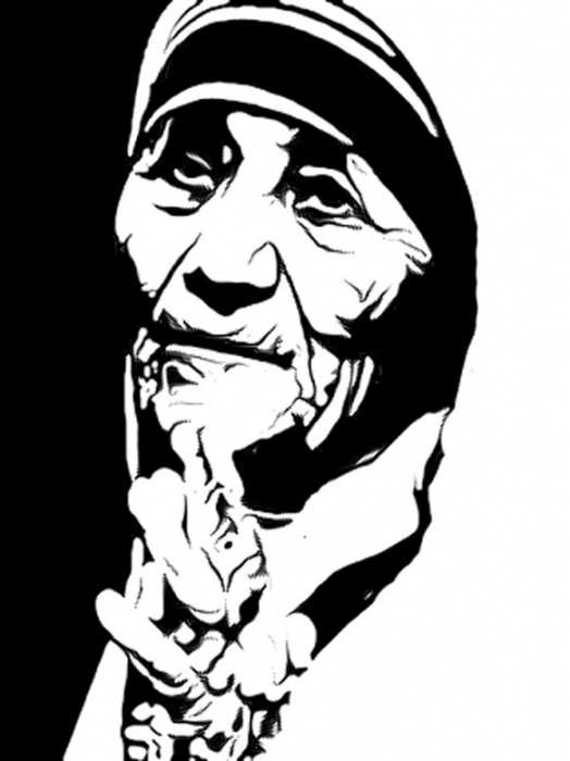 524x700 portrait of mother teresa by rajuarya on stars portraits