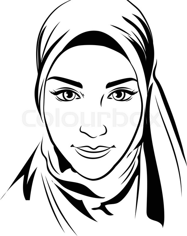 635x800 Portrait Of Muslim Beautiful Girl In Patterned Hijab, Vector