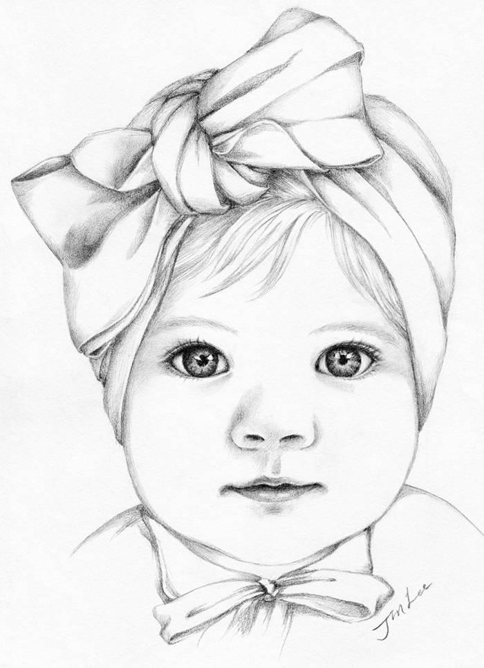 700x965 Custom Pencil Portrait Drawing From Photo. Baby Girl Portrait.