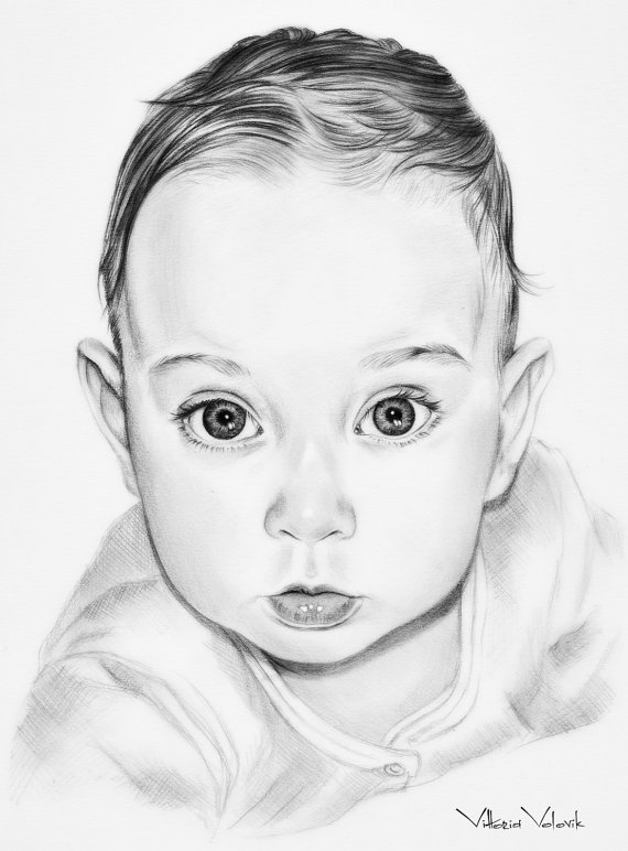 570x772 Custom Baby Portrait Pencil Drawing From Your Photo Sketch