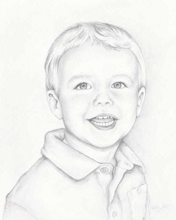 570x713 Custom Portrait Drawing 8x10 Portrait Of One Child By Paintashley