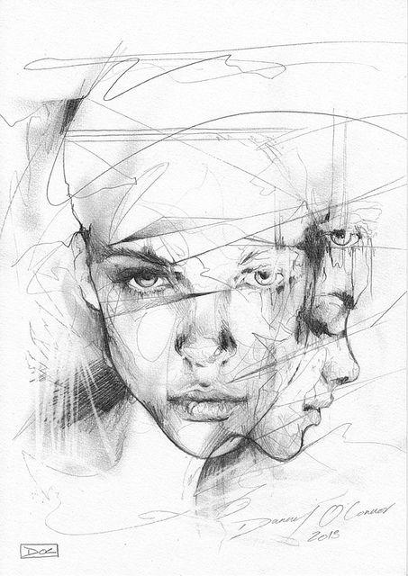 453x640 Layered Portrait Sketch By Danny O'Connor Graphic Design