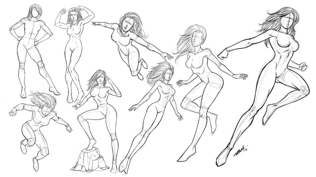 1280x720 Drawing Women Poses