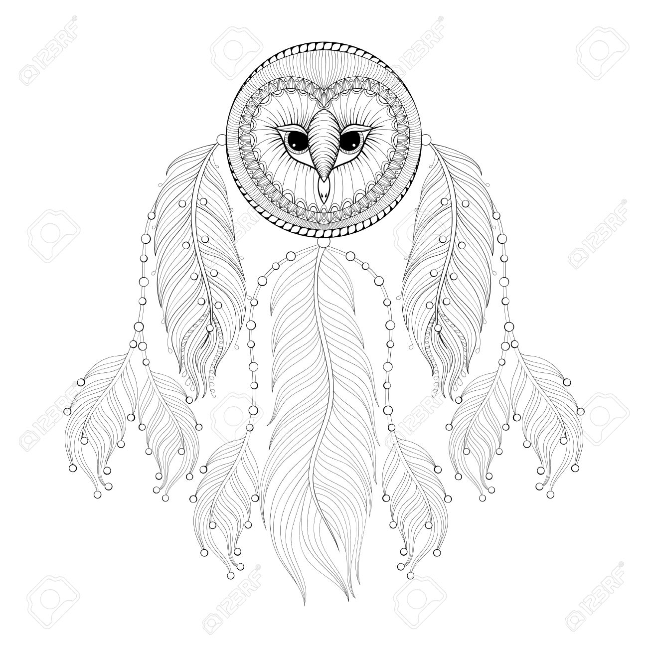 1300x1300 Hand Drawn Dreamcatcher With Tribal Owl Face For Adult Coloring