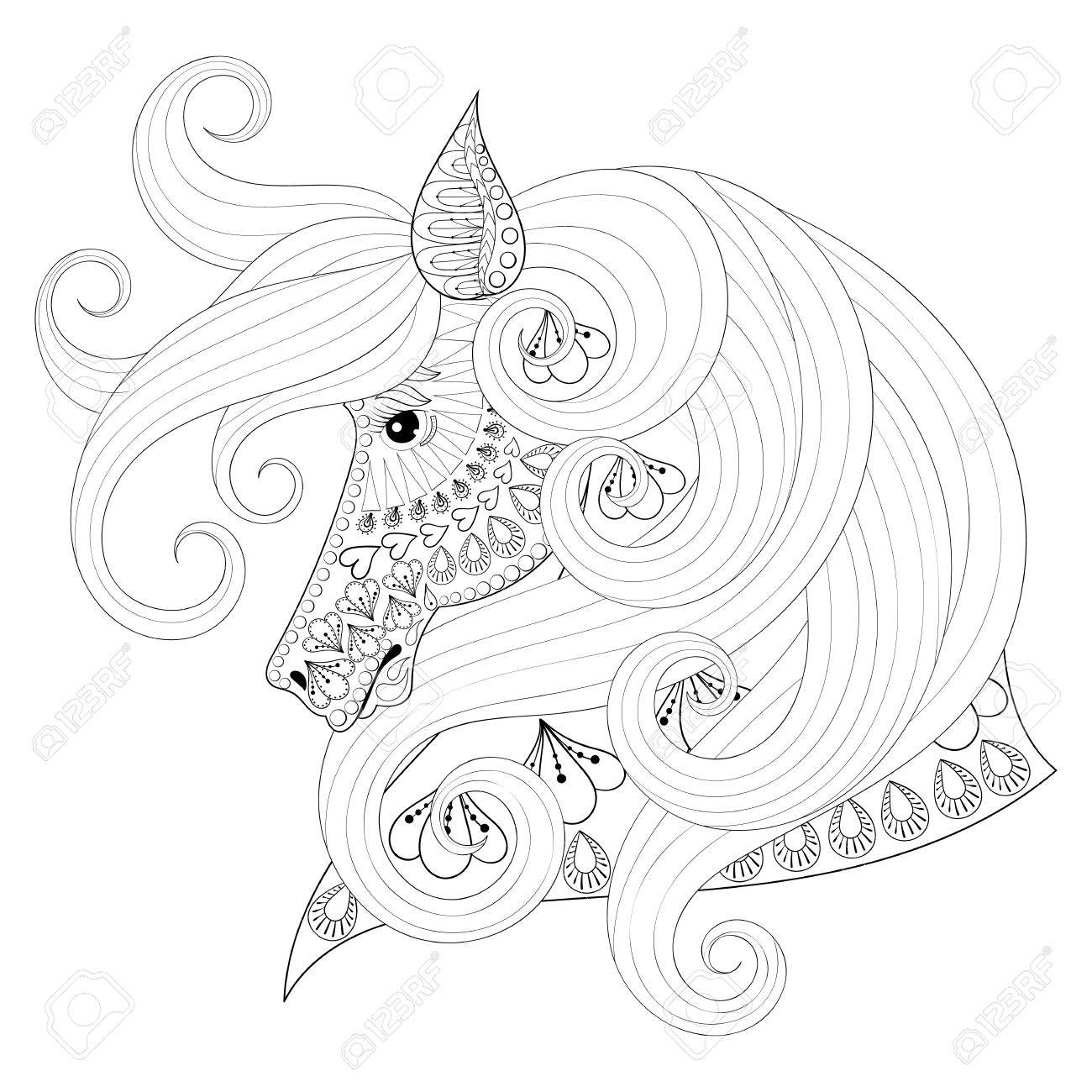 1300x1300 Hand Drawn Ornamental Horse For Adult Coloring Pages, Post Card