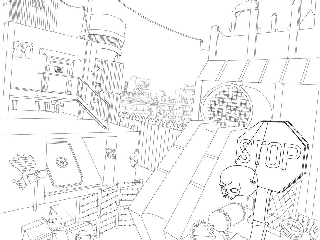 1024x769 Lineart Post Apocalyptic City By Huzuro Sama