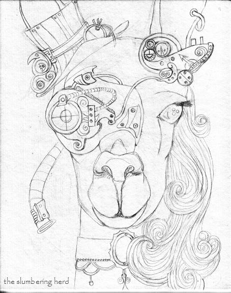 454x576 Steampunk Llama Pen And Ink Drawing In Progress The Slumbering
