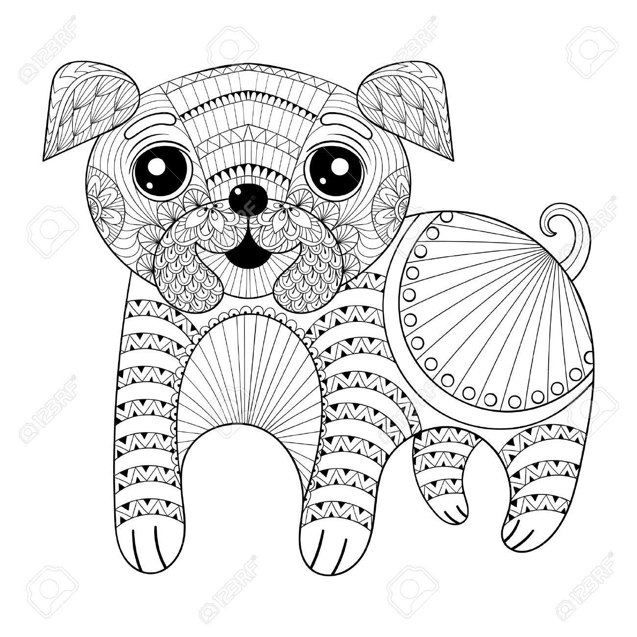1300x1300 Zentangle Hand Drawing Dog For Antistress Coloring Pages, Post