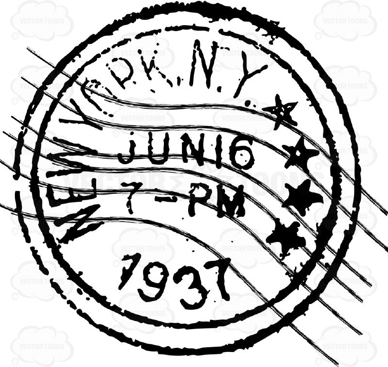 800x757 New York N Y Delivered Letter Mail Postage Stamp Cartoon Clipart